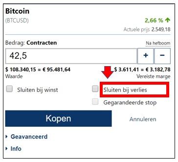 Bitcoins kopen en verkopen met winst - stop loss
